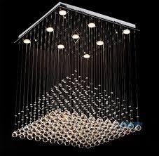 crystal ceiling lights flush mount modern clear square crystal chandelier pyramid rain drop lamp flush