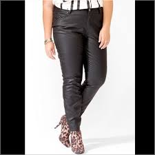 skinny faux leather pants in a dark red maroon color