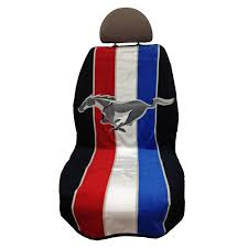 seat armour seat cover black with tri bar running horse logo