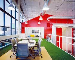 blue white office space. square office uses warm colorsgray and whiteand natural materialwood separators to build a cozy working environment blue white space d