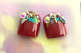 P1952019夏新作l赤きらきらフェザーペディキュア足の親指2枚足の爪フットネイルチップ脚親指用