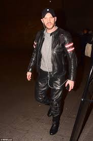 biker style tom hardy rocked his edgy leather biker gear and baseball hat as he