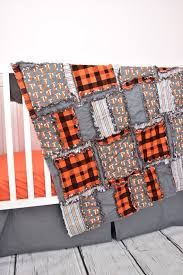 fox crib bedding rag blanket black gray orange crib bedding plaid crib bedding lumberjack nursery woodland baby blanket rag quilt