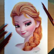 Drawingcolor Elsa Color Pencil Drawing By Atomiccircus Frozen Disney