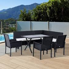 outdoor patio dining furniture sets. outsunny 7pcs outdoor rattan wicker sofa garden sectional couch patio furniture set chairs and dining table sets