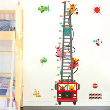 Cute Growth Chart 1pcs Cute Truck Height Measure Wall Sticker Mural Decals Home Room Decoration Child Growth Chart Toys