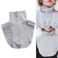 Shinywear Women's Mock <b>Turtleneck</b> Fake <b>Collar</b> Cotton Striped ...