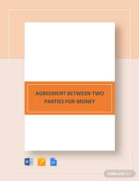 agreement template between two parties 16 sample money agreement templates word pdf pages free