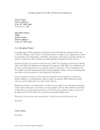 Requesting For Recommendation Letter Sample Free Reference Request Letter For Student Templates At