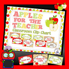 Apple Theme Classroom Decor Clip Chart Editable