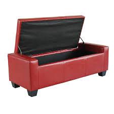 amazoncom homcom faux leather storage ottoman  shoe bench  red