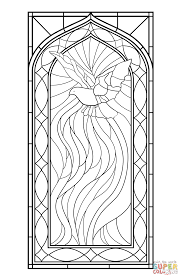 Small Picture Stained Glass Window with Holy Spirit coloring page Free