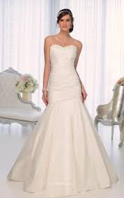 Ivory Satin Strapless Sweetheart Simple Mermaid Wedding Dress