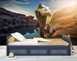 Kinderkamer Behang Dino T Rex Blauw Dielconl