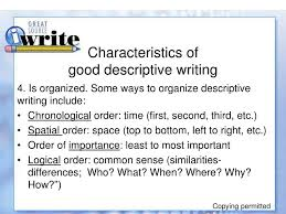ppt descriptive writing powerpoint presentation id  characteristics of good descriptive writing