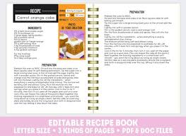 book template doc recipe book template pdf doc editable recipe pages etsy