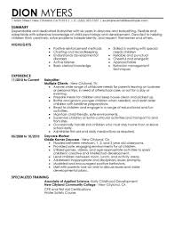 Babysitter Resume Templates Cover Letter Work Experience No Best