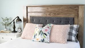 build a beautiful wood headboard with a luxurious velvet tufted upholstered center using these free building plans