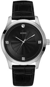 men s black guess leather strap diamond watch u0539g1