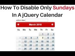 Sundays Only Calendar How To Disable Sunday Using Jquery 3 3 1 Datepicker
