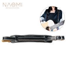 <b>NAOMI Electric Guitar</b> Strap Leather Black Adjustable Shoulder ...