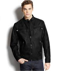 lyst calvin klein quilted faux leather moto jacket in black for men