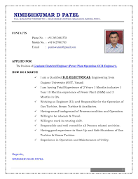 Resume Format For Experienced Electrical Engineers Professional