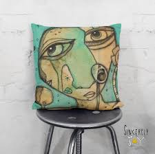 Funky throw pillows Cheap Image Etsy Abstract Face Art Throw Pillow Unique Pillow Cover Art Funky Etsy