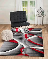 area rug st34 red black grey white contemporary abstract size 5x7 8x10 2x3 2x7