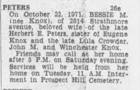 Peters, Bessie (Knox) 22 October 1971 - Newspapers.com