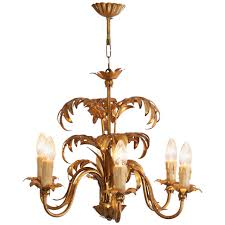 gilt metal palm tree leaf chandelier attributed to hans kögl