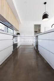 polished concrete floor kitchen. Long Galley Style Kitchen With Polished Concrete Floor