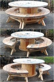 old pallet furniture. Recycled-pallet-cable-reel-patio-furniture Old Pallet Furniture