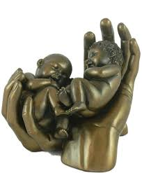 twins bronze sculpture for new twin es or christening gift