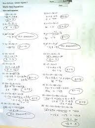 solving multi step equations worksheet answers algebra 1 worksheets solve one