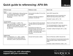 Quick Guide To Referencing Apa 6th Globalisation Lifelong Learning