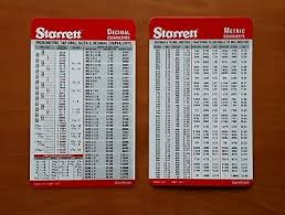Decimal To Fraction Drill Chart Set Of 2 Starrett Machinist Card Tap Drill Sizes Decimal And Metric Conversion Ebay