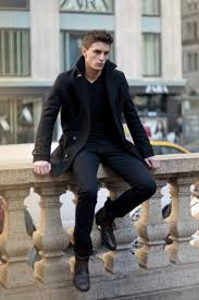 this smart casual combination of a pea coat and black casual trousers takes on diffe moods