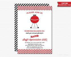 Barbeque Invitation Company Staff Appreciation Bbq Invitation Printable Company Bbq