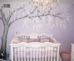 baby girl nursery wall decals with purple colors room and modern chandelier white drawers photo decoration