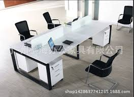 modern office desk. 4 Screen Staff Office Furniture Computer Desk Combination Of Minimalist Modern Working Employees G