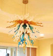 modern multi colored crystal chandelier home decoration lighting hand blown glass with led bulb lamp hanging small glass vintage multi colored chandeliers