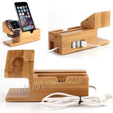 genuine bamboo charging dock charger station desk stand holder for apple watch for iphone x 8 6 6s plus 7 plus with 3 usb ports in mobile phone holders
