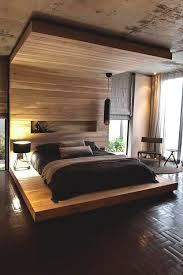 modern bedroom lighting ideas. Architecture, Warm Master Bedroom Lighting Ideas With Wood Wall Panels Exposed Concrete Ceiling And Floor Lamp Design: The Elegant Aupiais House By Site Modern