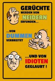 Gerüchteniederndummenidioten Blechschild Lustig Comic