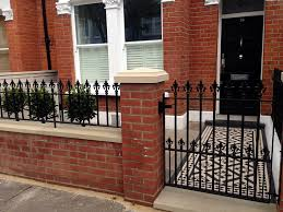 Small Picture red brick front garden wall yellow stone caps sandstone paving
