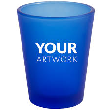 customized frosted blue shot glass 1 75 oz