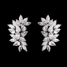 cz bridal cer earrings clip on or pierced celine