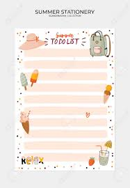 Cute Lists Set Of Weekly Planners And To Do Lists With Cute Summer Illustrations