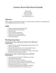 Job Objective For Customer Service Resume Internship Skills